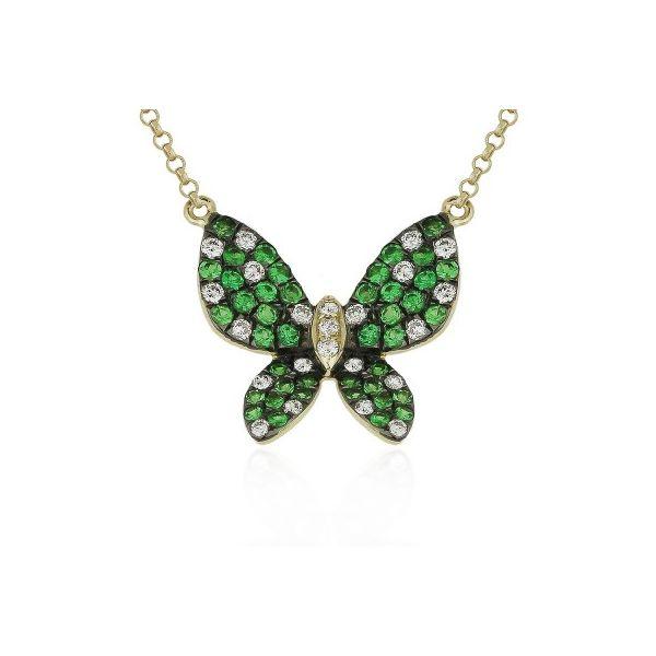 Tsavorite and Diamond Butterfly Necklace Darrah Cooper, Inc. Lake Placid, NY