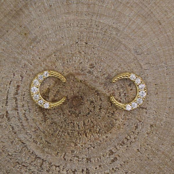 Gold Cubic Zirconia Crescent Moon Earrings Darrah Cooper, Inc. Lake Placid, NY