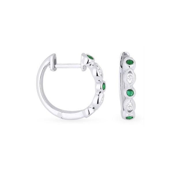 Emerald and Diamond Huggie Earrings Darrah Cooper, Inc. Lake Placid, NY