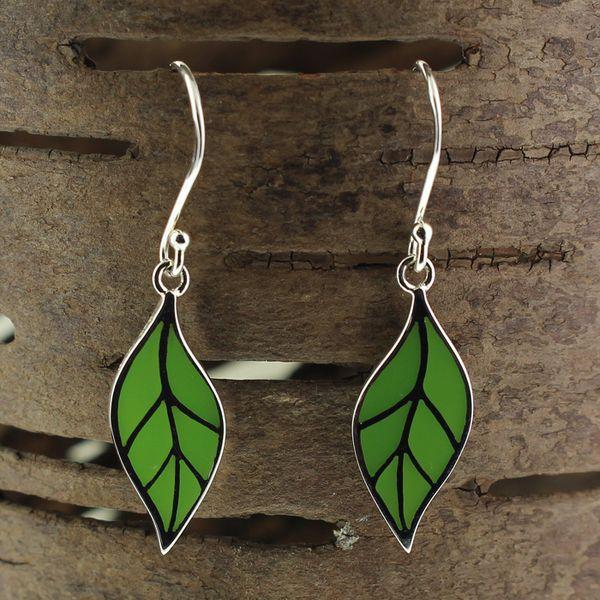 Green Resin Leaf Earrings Darrah Cooper, Inc. Lake Placid, NY
