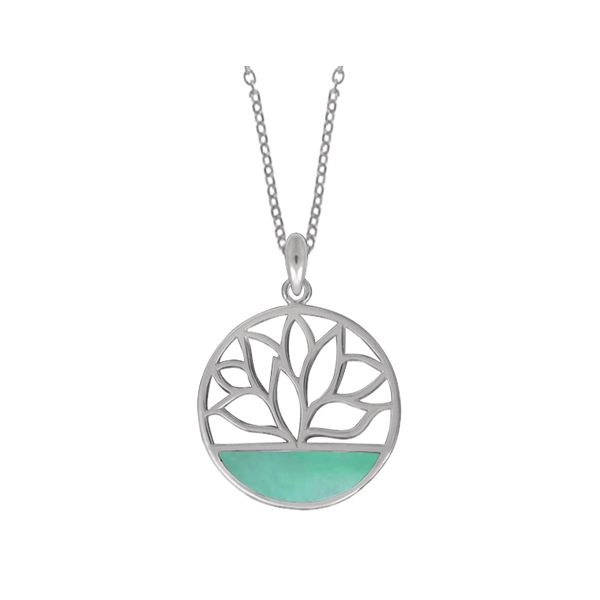 Green Mother of Pearl Lotus Flower Necklace Darrah Cooper, Inc. Lake Placid, NY