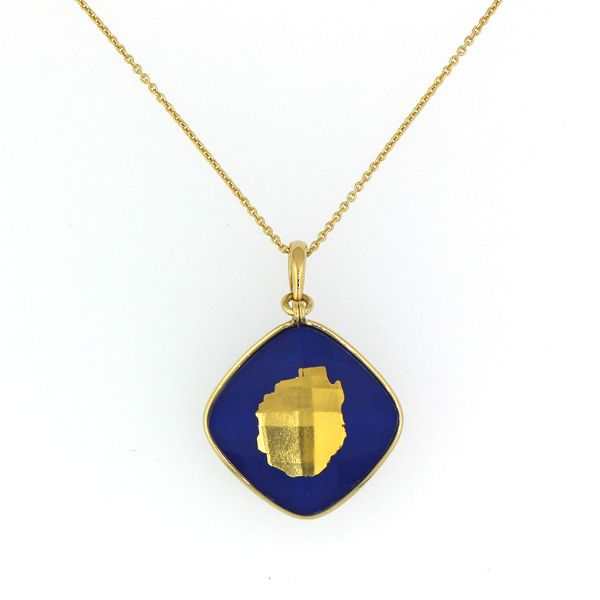 Gold Adirondack Blue Line Necklace-Lapis and Quartz-MEDIUM-5/8
