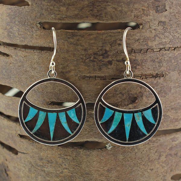 Inlaid Turquoise Earrings Darrah Cooper, Inc. Lake Placid, NY