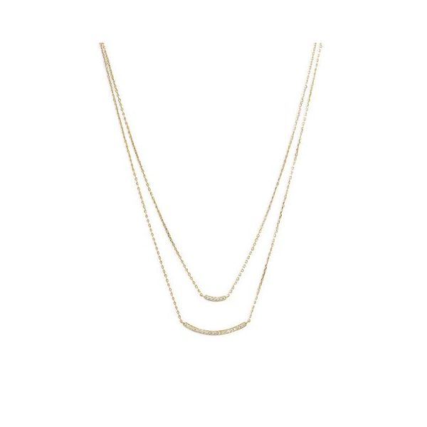 Gold Plated Cubic Zirconia Double Layer Necklace Darrah Cooper, Inc. Lake Placid, NY