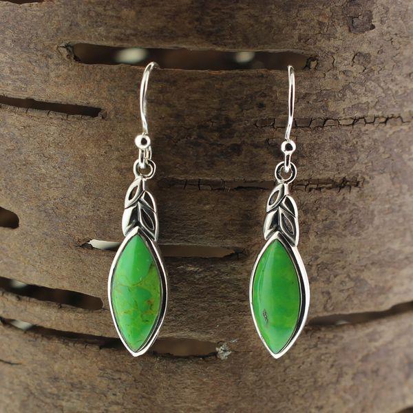 Green Turquoise Leaf Earrings Darrah Cooper, Inc. Lake Placid, NY