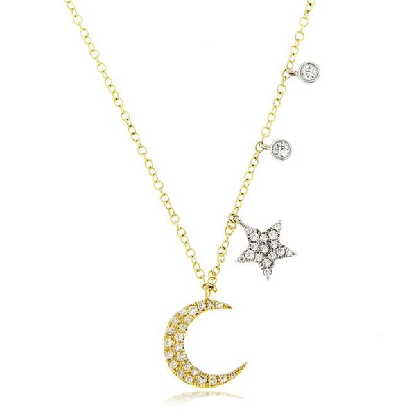 Crescent Moon, Star, and Diamond Dangles Necklace Darrah Cooper, Inc. Lake Placid, NY