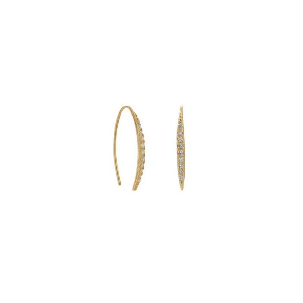 Gold Plated Cubic Zirconia Double Threader Earrings Darrah Cooper, Inc. Lake Placid, NY