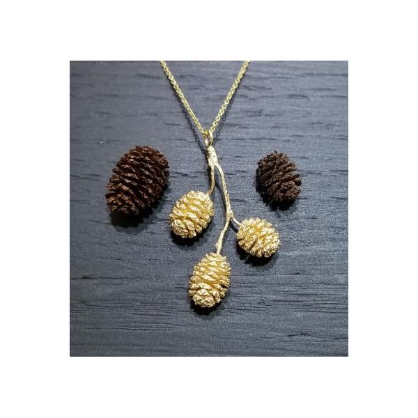 Triple Pine Cone on Branch Necklace Image 2 Darrah Cooper, Inc. Lake Placid, NY