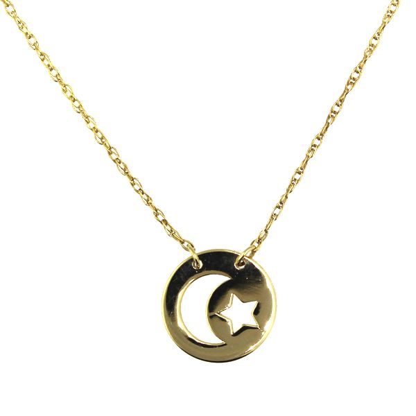 Crescent Moon and Star Disc Necklace Darrah Cooper, Inc. Lake Placid, NY