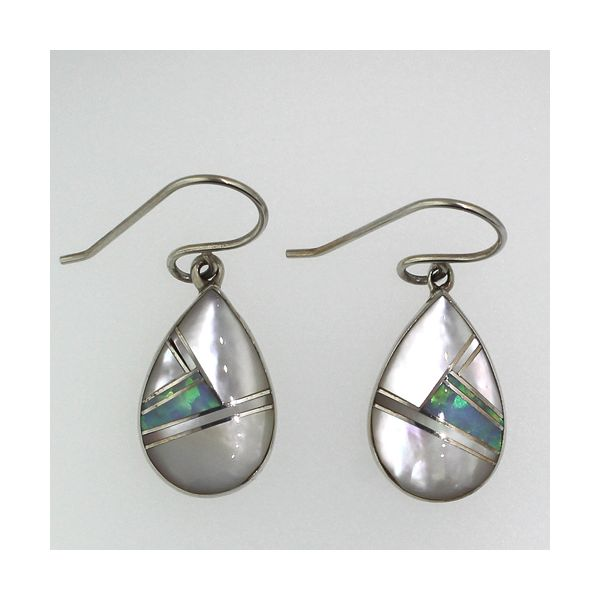 Mother of Pearl and Synthetic Opal Earrings Darrah Cooper, Inc. Lake Placid, NY