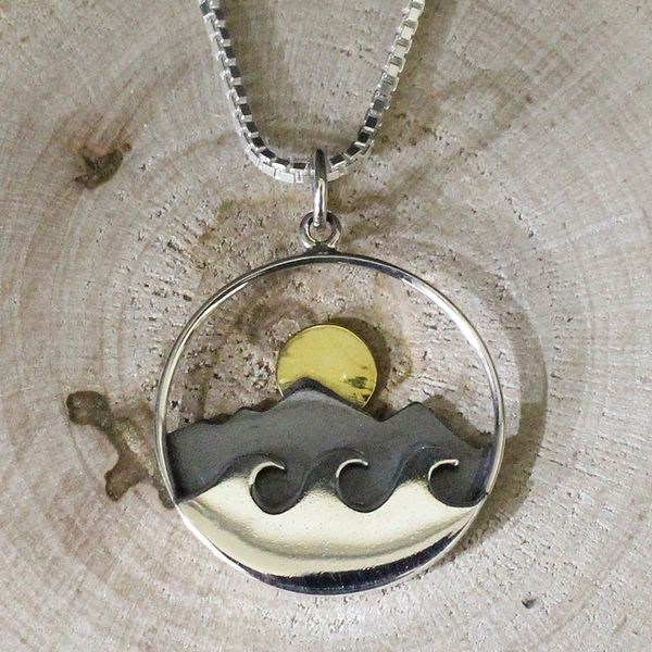 Sun Rising over Mountain and Water Necklace Darrah Cooper, Inc. Lake Placid, NY