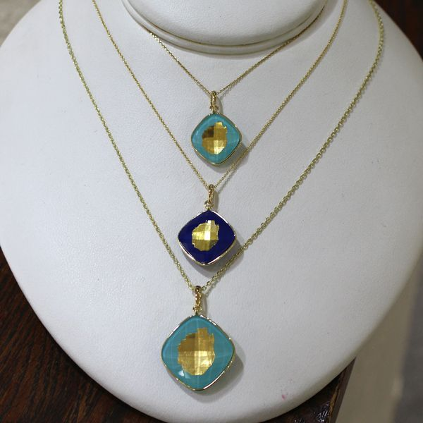 Gold Adirondack Blue Line Pendant-Turquoise and Quartz-SMALL-1/2