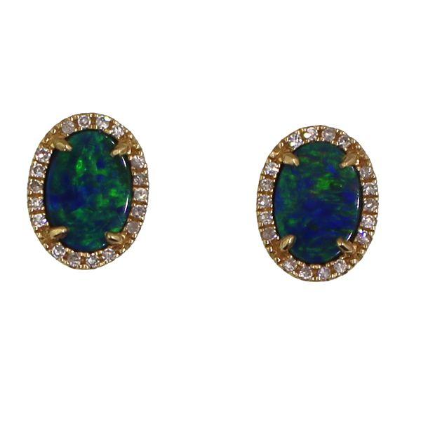 Boulder Opal and Diamond Earrings Darrah Cooper, Inc. Lake Placid, NY