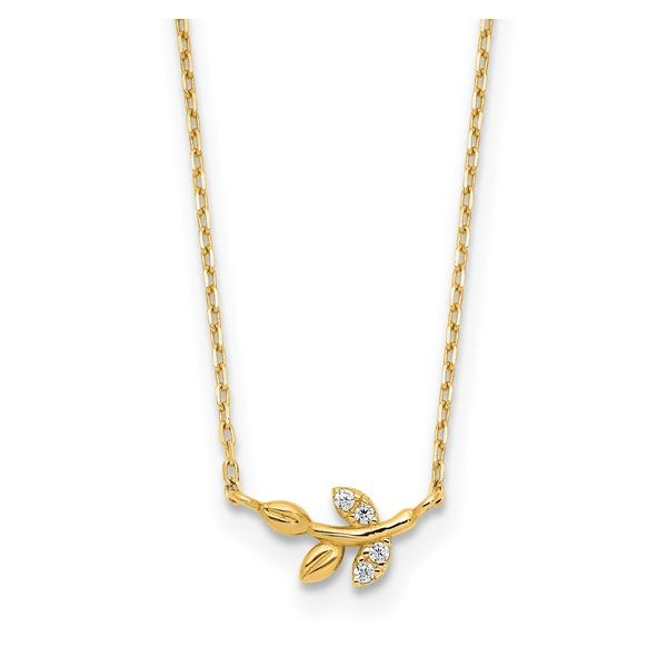 Gold Cubic Zirconia Branch/Leaves Necklace Darrah Cooper, Inc. Lake Placid, NY