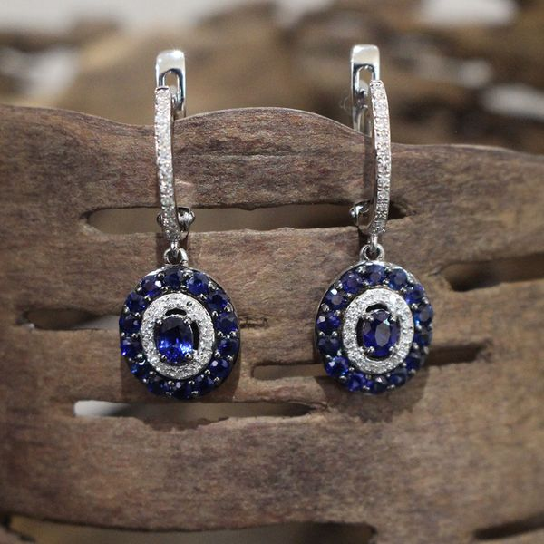 Sapphire and Diamond Earrings Image 2 Darrah Cooper, Inc. Lake Placid, NY