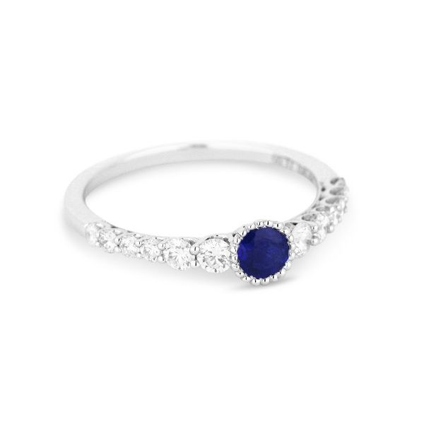 Bezel Set Sapphire and Diamond Ring Darrah Cooper, Inc. Lake Placid, NY