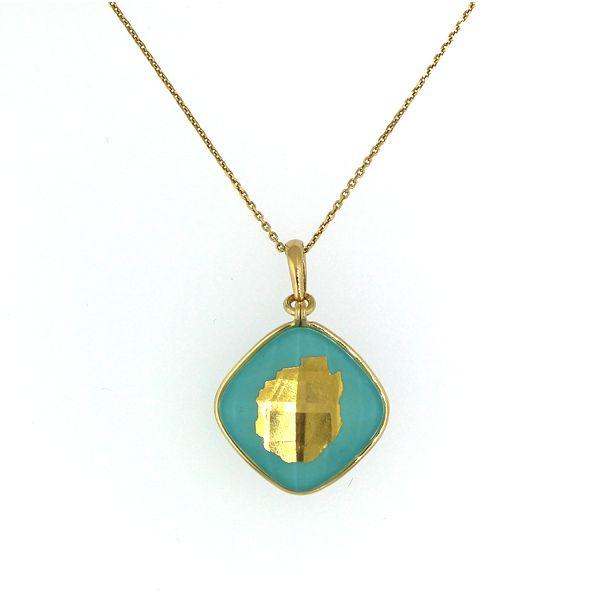 Gold Adirondack Blue Line Necklace-Turquoise and Quartz-MEDIUM-5/8