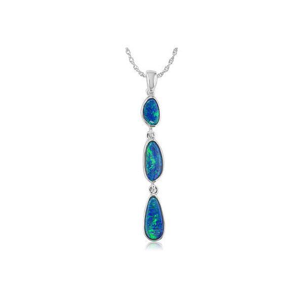 Three Drop Australian Opal Doublet Necklace Darrah Cooper, Inc. Lake Placid, NY
