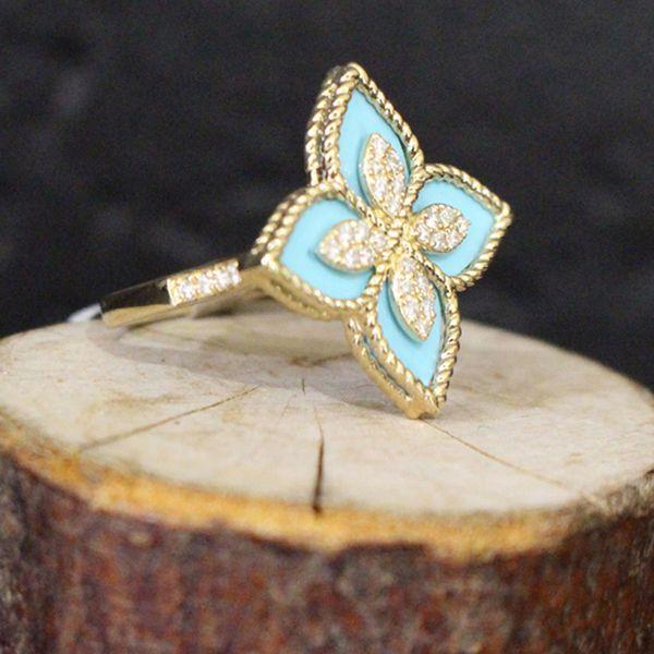 Turquoise and Diamond Flower Ring Image 2 Darrah Cooper, Inc. Lake Placid, NY