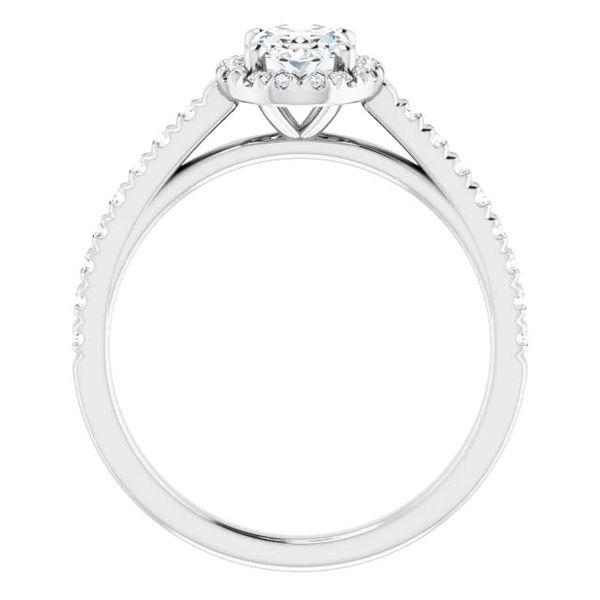 Platinum Halo Moissanite Engagement Ring Image 2 David Douglas Diamonds & Jewelry Marietta, GA