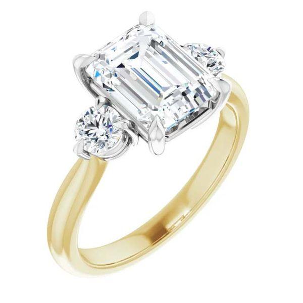 18k Three Stone Style Moissanite Engagement Ring David Douglas Diamonds & Jewelry Marietta, GA