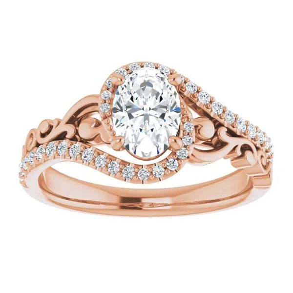 14k Scroll Bypass Moissanite Engagement Ring Image 3 David Douglas Diamonds & Jewelry Marietta, GA