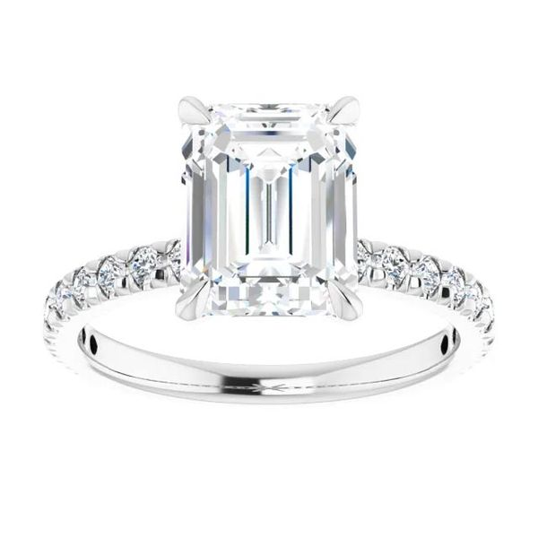 Platinum Single Row Solitaire Moissanite Engagement Ring Image 3 David Douglas Diamonds & Jewelry Marietta, GA