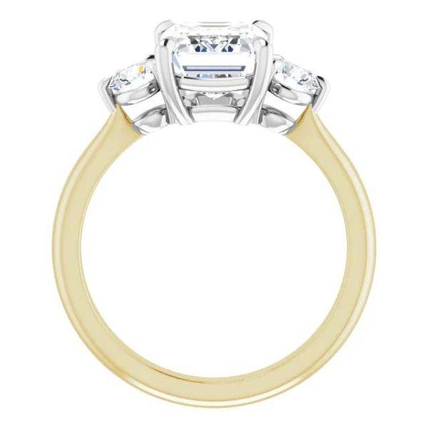 18k Three Stone Style Moissanite Engagement Ring Image 2 David Douglas Diamonds & Jewelry Marietta, GA