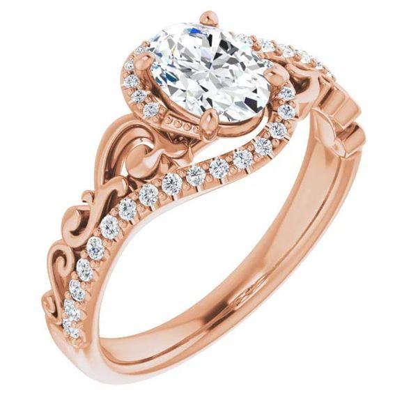 14k Scroll Bypass Moissanite Engagement Ring David Douglas Diamonds & Jewelry Marietta, GA