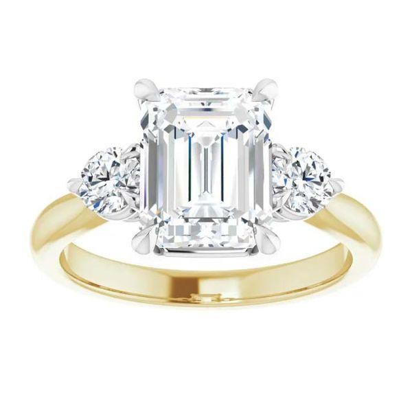 18k Three Stone Style Moissanite Engagement Ring Image 3 David Douglas Diamonds & Jewelry Marietta, GA