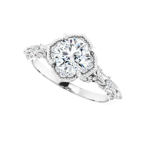 14k Vintage Style Halo Moissanite Engagement Ring Image 5 David Douglas Diamonds & Jewelry Marietta, GA