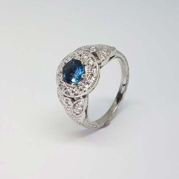 Montana Sapphire Halo Ring Image 2 David Douglas Diamonds & Jewelry Marietta, GA