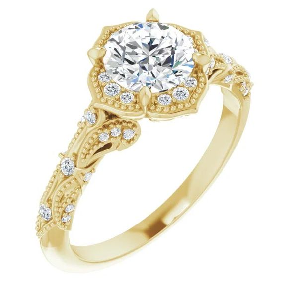 14k Vintage Style Halo Moissanite Engagement Ring David Douglas Diamonds & Jewelry Marietta, GA