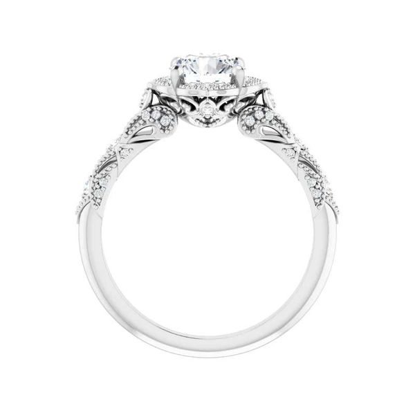 14k Vintage Style Halo Moissanite Engagement Ring Image 2 David Douglas Diamonds & Jewelry Marietta, GA