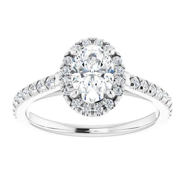 Platinum Halo Moissanite Engagement Ring Image 3 David Douglas Diamonds & Jewelry Marietta, GA