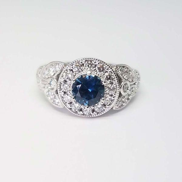 Montana Sapphire Halo Ring David Douglas Diamonds & Jewelry Marietta, GA
