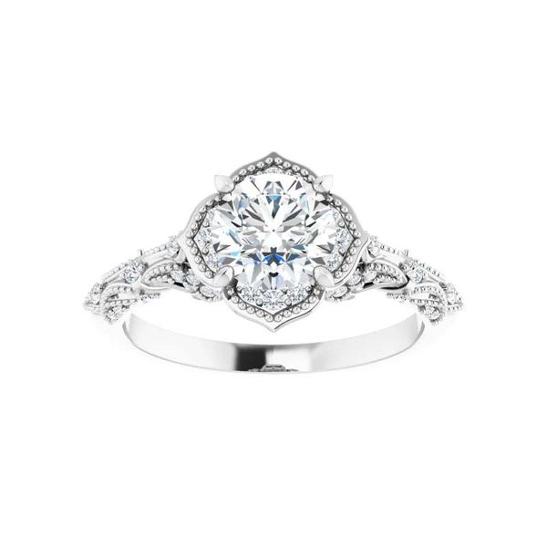 14k Vintage Style Halo Moissanite Engagement Ring Image 3 David Douglas Diamonds & Jewelry Marietta, GA