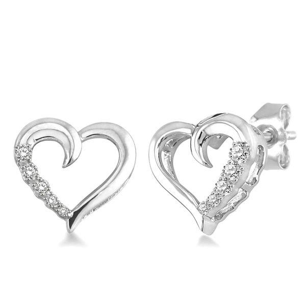 Silver Diamond Heart Earrings D. Geller & Son Jewelers Atlanta, GA