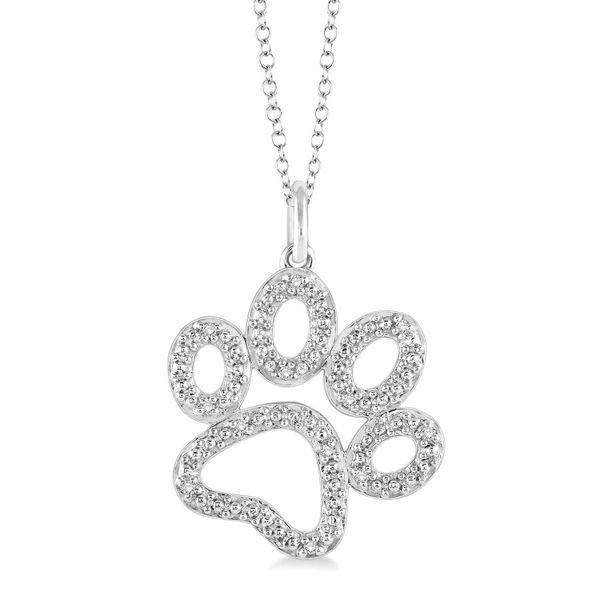Silver Diamond Paw Print Pendant D. Geller & Son Jewelers Atlanta, GA