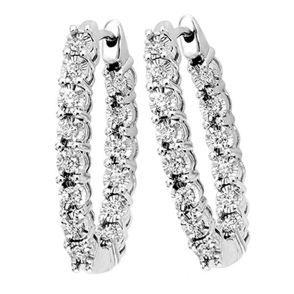 14K Diamond Inside-Out Oval Hoops 2ctw D. Geller & Son Jewelers Atlanta, GA