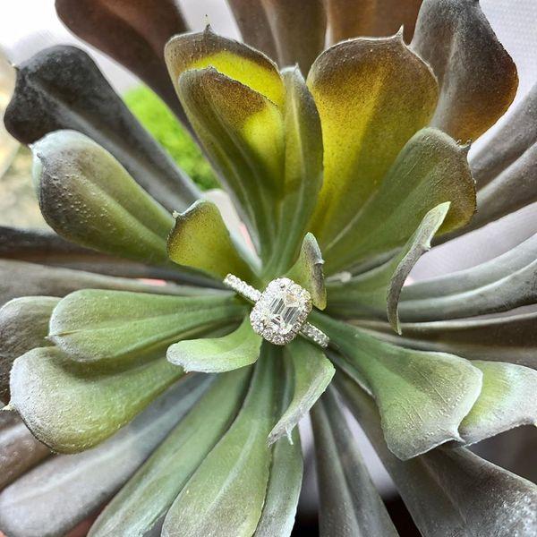 EMERALD HALO DIAMOND RING Diamond Jewelers Gulf Shores, AL