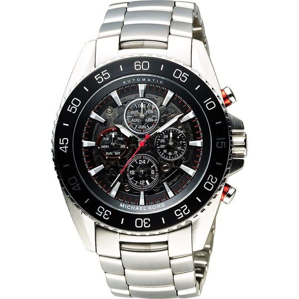 Michael Kors Men's Jet Master Automatic Multi-Function Skeletal Dial Stainless Steel Bracelet Watch Diamonds Direct St. Petersburg, FL