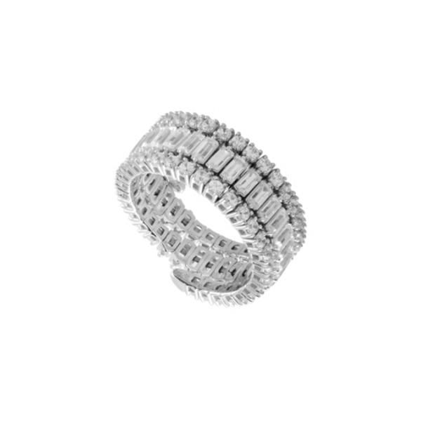 Flexi White Gold Round and Baguette Diamond Band Diamonds Direct St. Petersburg, FL