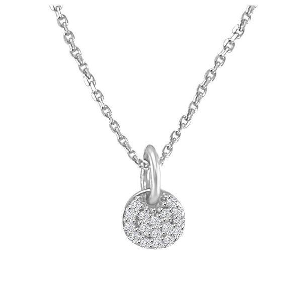 10K White Gold Diamond Cluster Pendant.  Diamonds Direct St. Petersburg, FL