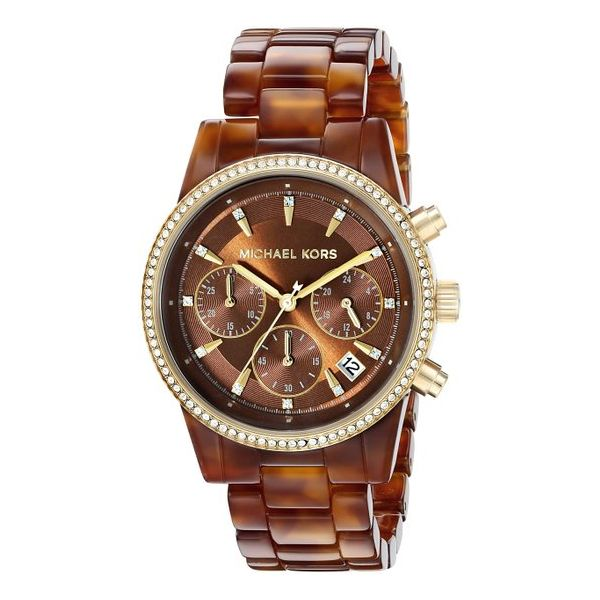 Women's Michael Kors Ritz Brown Chronograph Watch Diamonds Direct St. Petersburg, FL