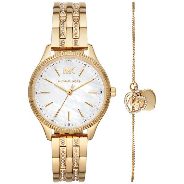 Michael Kors Lexington Three-Hand Gold-Tone Stainless Steel Watch Giftset Diamonds Direct St. Petersburg, FL