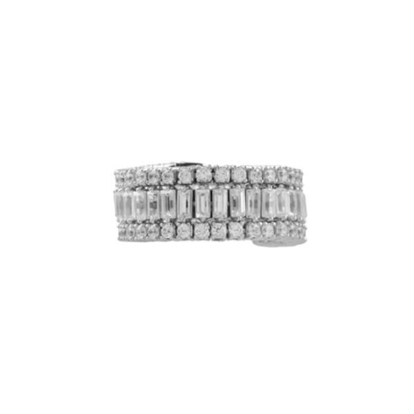 Flexi White Gold Round and Baguette Diamond Band Image 2 Diamonds Direct St. Petersburg, FL
