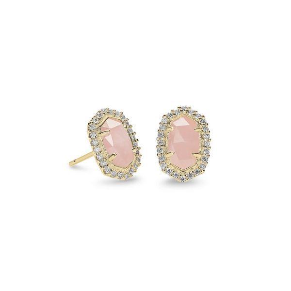 Kendra Scott Cade Gold Earrings in Rose Quartz Dickinson Jewelers Dunkirk, MD