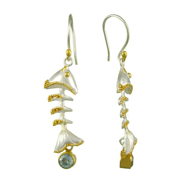 Sterling Silver And Blue Topaz Fish Bone Dangle Earrings Dickinson Jewelers Dunkirk, MD