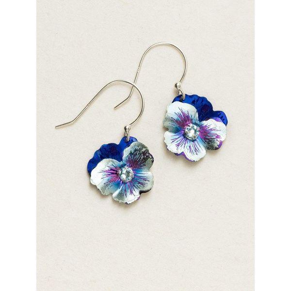 Blue Garden Pansy Drop Earrings DJ's Jewelry Woodland, CA